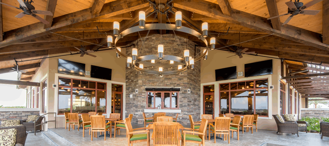 The Lodge at Lakewood Ranch Center View Dining Fireplace